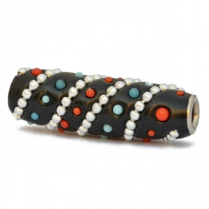 Black Tube Beads Studded with Metal Chains & Blue + Red Grains