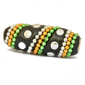 Black Tube Beads Studded with Colorful Chains & Accessories