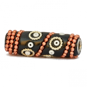 Black Tube Beads Studded with Seed Beads & Metal Chains