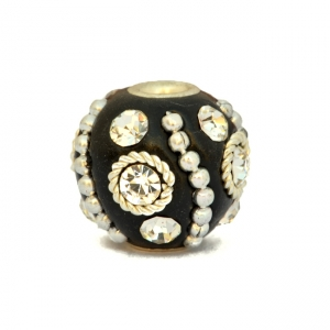 Black Beads Studded with Chains, Rhinestones & Metal Rings