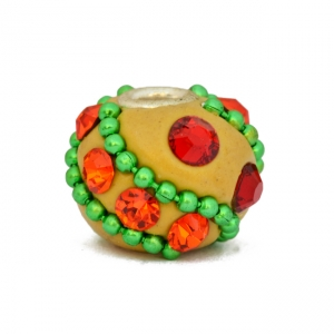 Yellow Beads Studded with Green Metal Chains & Accessories