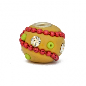 Yellow Kashmiri Beads Studded with Rhinestones & Metal Chains