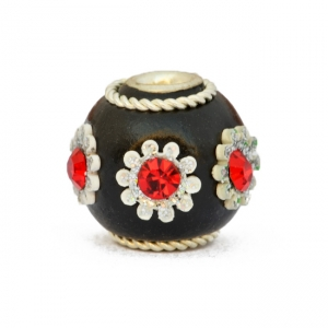 Black Kashmiri Beads Studded with Rhinestones & Flower Accessories