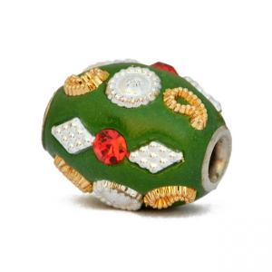 Green Beads Studded with Rhinestones & Silver + Golden Accessories
