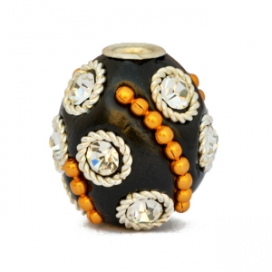 Black Beads Studded with Rhinestones & Golden Metal Chains