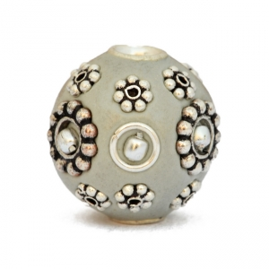 Gray Kashmiri Beads Studded with Silver Plated Rings & Flowers