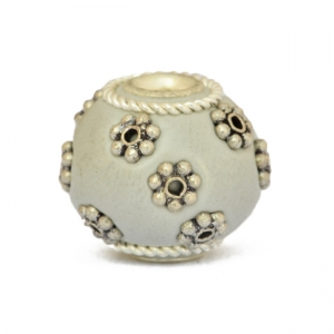 Gray Kashmiri Beads Studded with Silver Plated Flowers