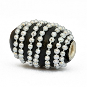 Black Cylindrical Kashmiri Beads Studded Metal Chain
