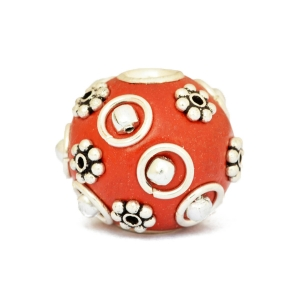 Red Kashmiri Beads Studded with Metal Rings + Flowers + Balls
