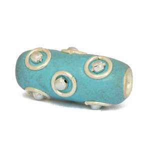 Blue Tube Beads Studded with Metal Rings + Balls