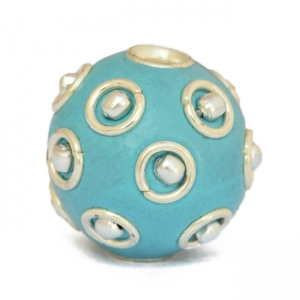16 mm Blue Round Beads Studded with Metal Rings + Balls