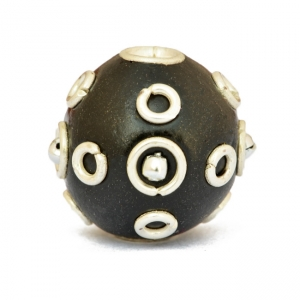 Black Round Beads Studded with Metal Rings + Balls