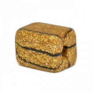 Square Handmade Golden Beads with Black Stripes