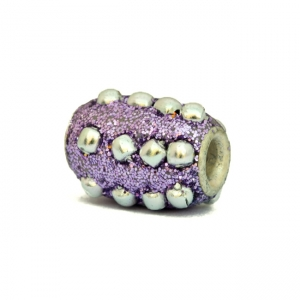 Purple Glitter Beads Studded with Metal Balls