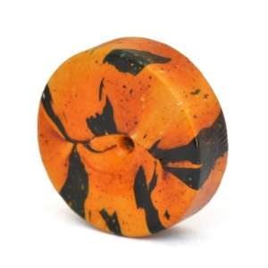 Orange Disc Beads with Black Spots
