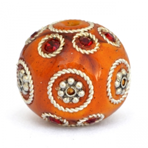 Orange Beads Studded with Metal Flowers + Rings & Rhinestones