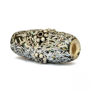 Silver Kashmiri Beads Studded with Metal Flowers