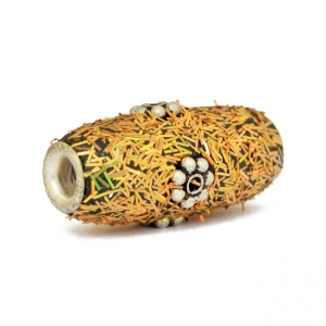 Golden Kashmiri Beads Studded with Metal Flowers