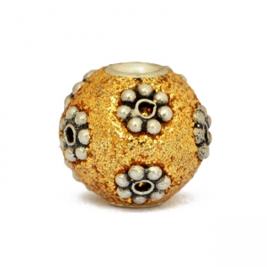 Golden Glitter Beads Studded with Silver Plated Flowers