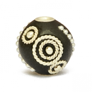 Black Round Beads Studded with Metal Rings + Chains + Balls