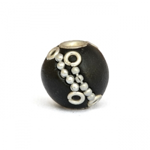 13 mm Black Round Kashmiri Beads Studded with Metal Chains & Rings