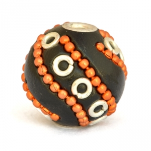 Black Round Beads Studded with Metal Chains & Metal Rings