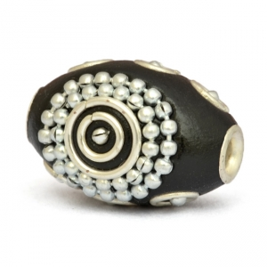 Black Cylindrical Beads Studded with Metal Rings, Silver Chains + Balls