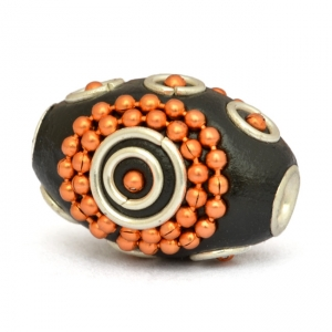 Black Cylindrical Beads Studded with Orange Metal Chains & Rings