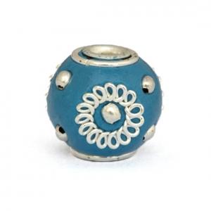 Blue Kashmiri Beads Studded with Metal Rings & Metal Balls