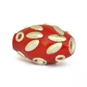 20 x 14 mm Red Kashmiri Beads Studded with Metal Rings & Accessories