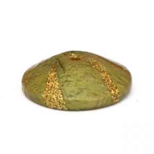 Unusual Shaped Green Lac Beads with Golden Stripes