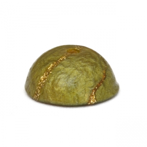 Dome Shaped Green Lac Beads with Golden Stripes