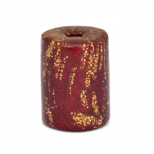 Maroon Cylindrical Beads with Golden Spots