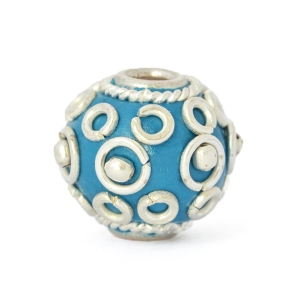 Blue Kashmiri Beads Studded with Silver Plated Rings & Metal Balls