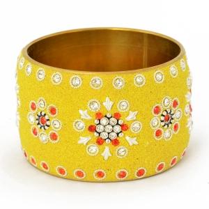 Handmade Yellow Bangle Studded with Metal Accessories & Rhinestones