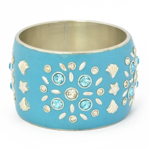 Handmade Blue Bangle Studded with Metal Accessories