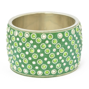 Handmade Green Bangle Studded with Green & White Rhinestones
