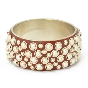 "1.5"" Handmade Brown Bangle Studded with Metal Balls & Rings"