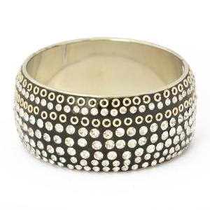 Handmade Black Bangle Studded with Metal Rings & White Rhinestones
