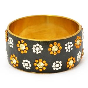 Handmade Black Bangle Studded with Gold & White Rhinestones