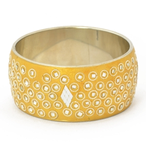 Handmade Shining Golden Bangle Studded with Metal Rings & Mirror Chips