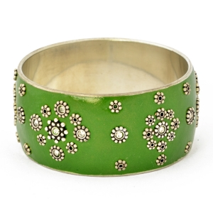 Handmade Green Bangle Studded with Metal Flowers & White Rhinestones
