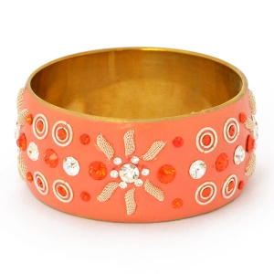 Handmade Orange Bangle Studded with Metal Rings, Accessories & Rhinestones