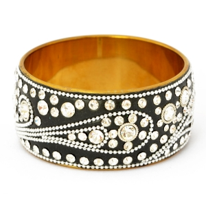 Handmade Black Bangle Studded with Metal Chains & White Rhinestones (Front View)