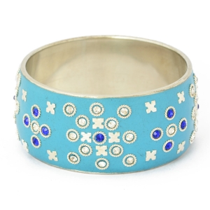 Handmade Blue Bangle Studded with Accessories, White & Blue Rhinestones