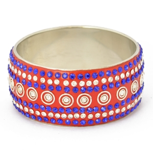 Handmade Red Bangle Studded with Blue & White Rhinestones