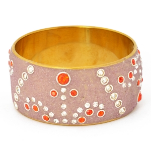 Handmade Purple Bangle Studded with Red & White Rhinestones