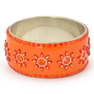 Handmade Orange Bangle Studded with Cabochons & Rhinestones