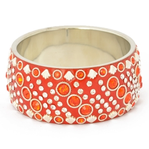 Handmade Red Bangle Studded with Metal Accessories & Rhinestones