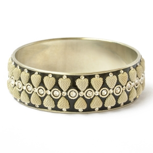 Handmade Black Bangle Studded with Metal Hearts & Rhinestones